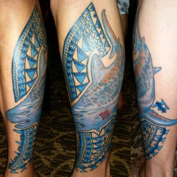 Illustrative Tiger Shark & Polynesian Patterns