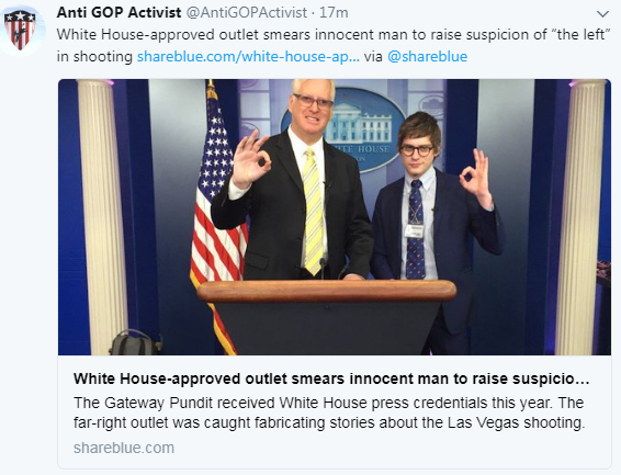'The Gateway Pundit' Caught Fabricating Story About Las Vegas Shooter; Smearing Innocent Man