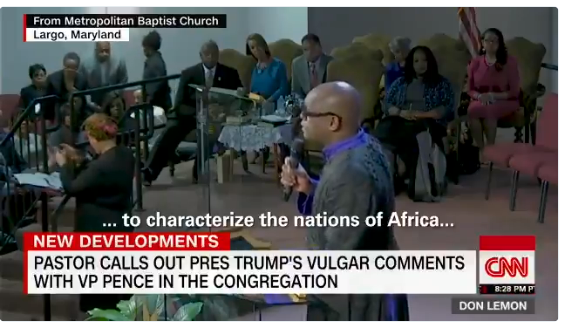 With Vice President Mike Pence sitting in the front pew, Rev. Maurice Watson called out Trump