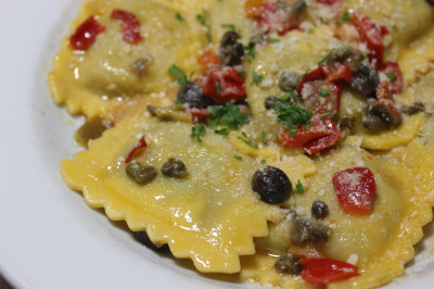 Eggplant and Pepper Ravioli with Puttanesca Oil