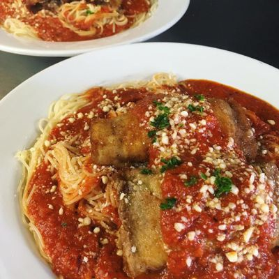 Eggplant Rolls over Angel Hair
