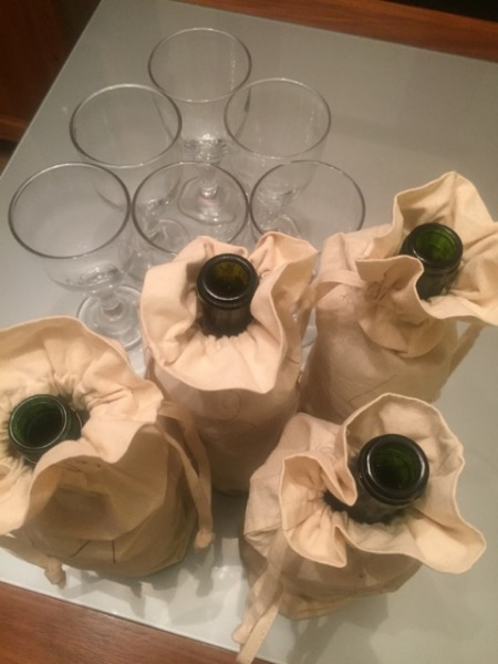 Blind tasting bottles at the ready