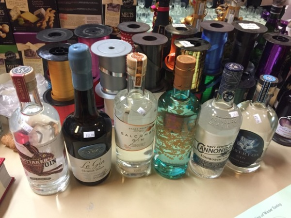 The six gins for tasting