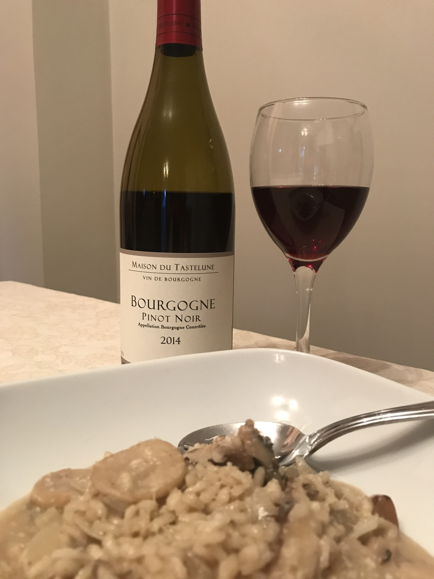 Creamy mushroom risotto and pinot noir from Burgundy