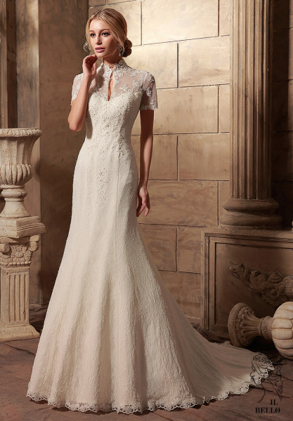 Vintage Short Sleeves Lace Wedding Gown