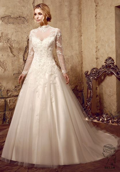 Full Sheer Sleeves Wedding Gown