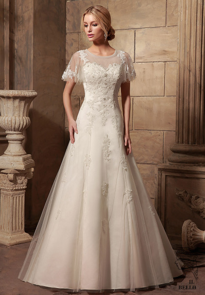 Cap Sleeves A-Line Wedding Gown