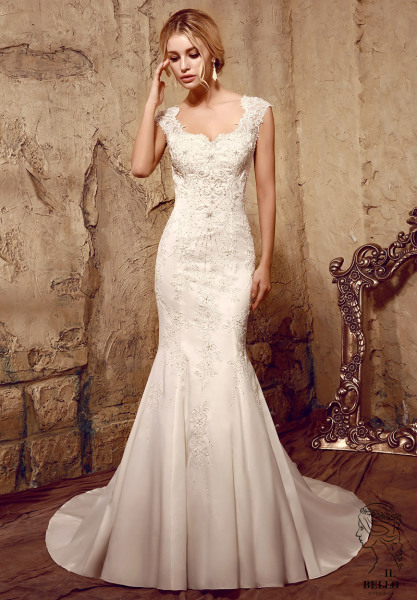 Crystal Beaded Lace Wedding Gown