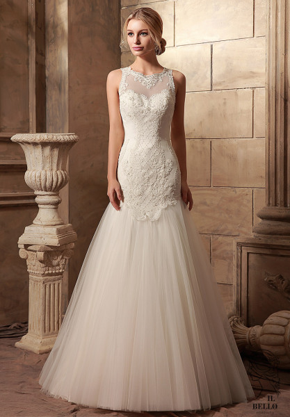 Delicate Embroidered Lace Wedding Gown