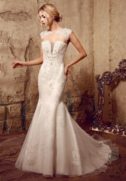 Beaded Appliques Organza Wedding Gown