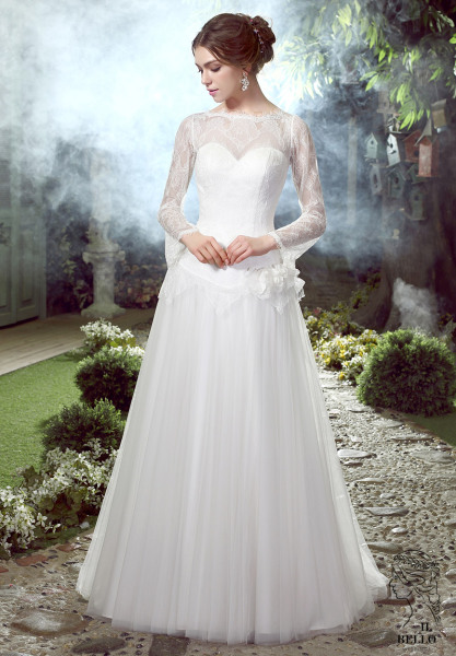 Full Sleeves Lace Tulle Wedding Gown
