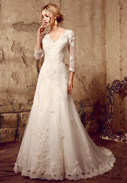 Embroidered Lace Wedding Gown