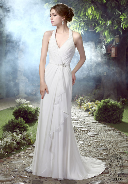 Halter Ruched Chiffon Wedding Gown