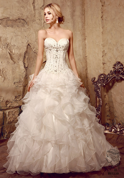 Organza Ruffle Wedding Gown