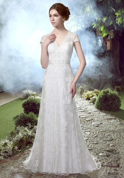 Vintage Lace Cap Sleeves Wedding Gown