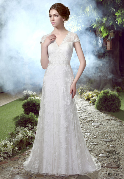 Vintage Lace Cap Sleeves Wedding Gown