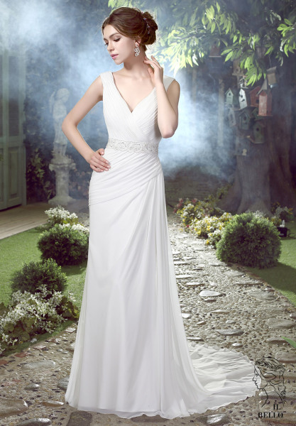 V-Neck Chiffon Wedding Gown