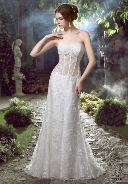 Sexy Sheer Top Lace Wedding Gown