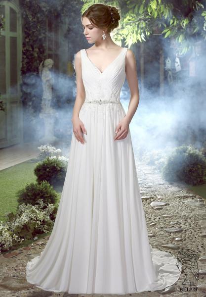 Chiffon Informal Wedding Gown With Crystals Belt