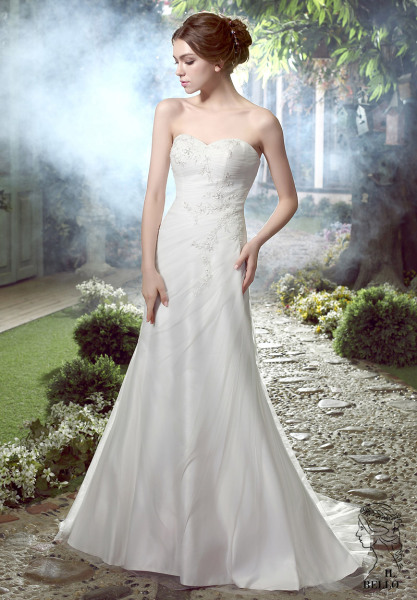 Simple Informal A-line Wedding Gown