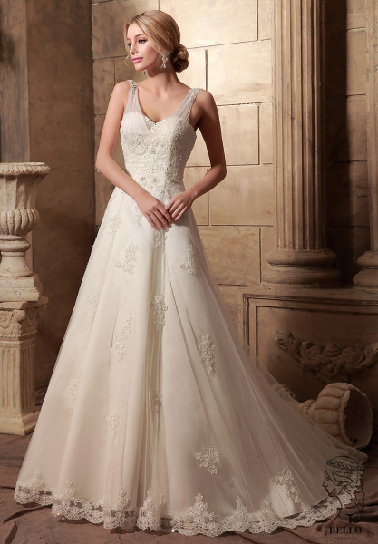 Lace Strap A-Line Wedding Gown