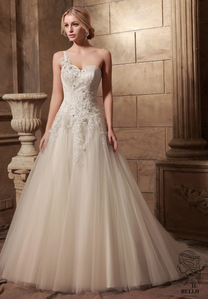 One Shoulder Sweetheart Wedding Gown