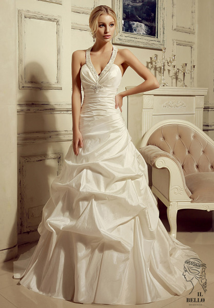 Halter Taffeta Wedding Gown