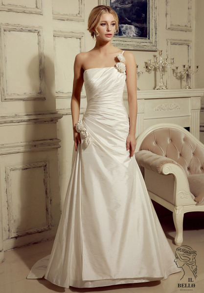 One Shoulder Handmade Flower Wedding Dress
