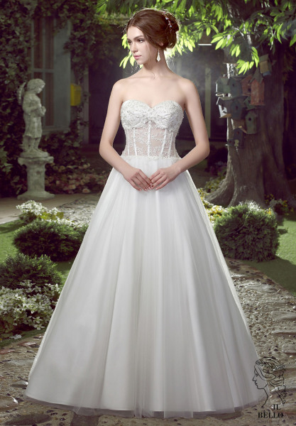 Ball Gown Skirt With Illusion Bodice