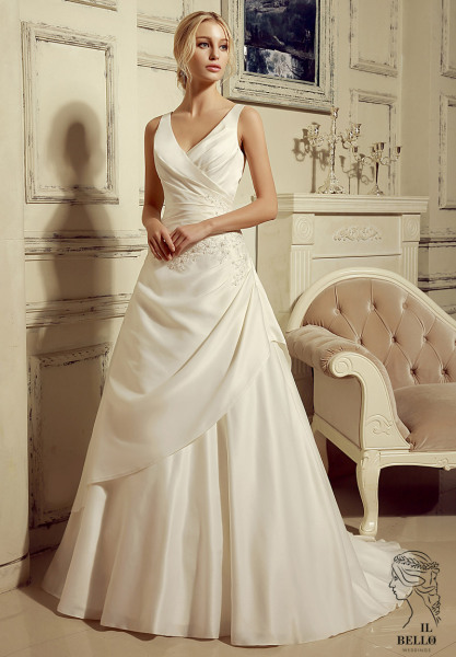 V Neck Satin Wedding Dres