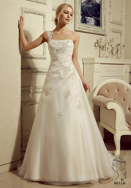 One Shoulder Organza Wedding Gown