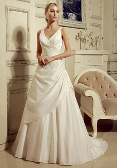 V-Neck A-Line Wedding Gown