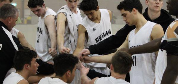 New Zealand age-level basketball team huddle