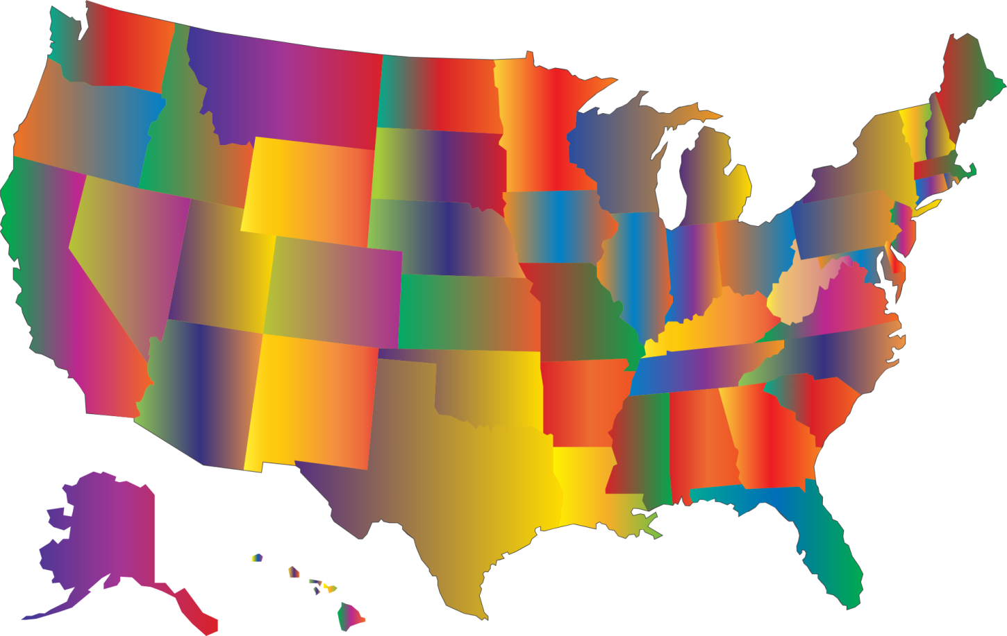 Colorful map of America
