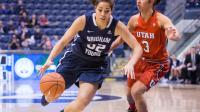 Kalani Purcell of BYU dribbling during a basketball game