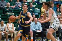 Krystal Leger-Walker of Northern Colorado dribbling during a basketball game