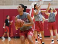 Laken Wairau of Indiana shooting during basketball practice