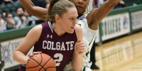 Tegan Graham of Colgate holding the ball during a basketball game