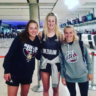 Wildcats Lauryn Hippolite (left), Aimee Book (middle) and Sofia Kennedy (right) pictured at the airport heading to U19 trials.