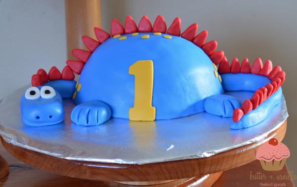 custom cake, butter + vanilla baked goods, calgary custom cakes, birthday cake, dinosaur birthday cake, smash cake