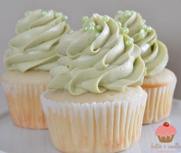 butter + vanilla baked goods, calgary bakery, calgary cupcakes, green tea buttercream