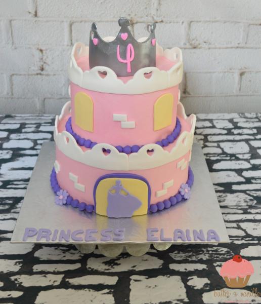 custom cake, butter + vanilla baked goods, calgary custom cakes, birthday cake, two tier cake, princess cake, castle cake