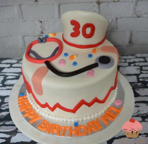custom cake, butter + vanilla baked goods, calgary custom cakes, birthday cake, nurse cake