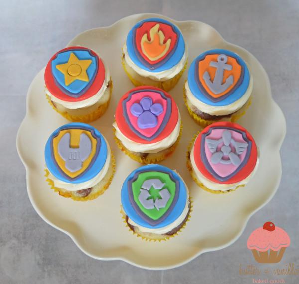 butter + vanilla baked goods, calgary bakery, calgary cupcakes, custom cupcakes, paw patrol cupcakes