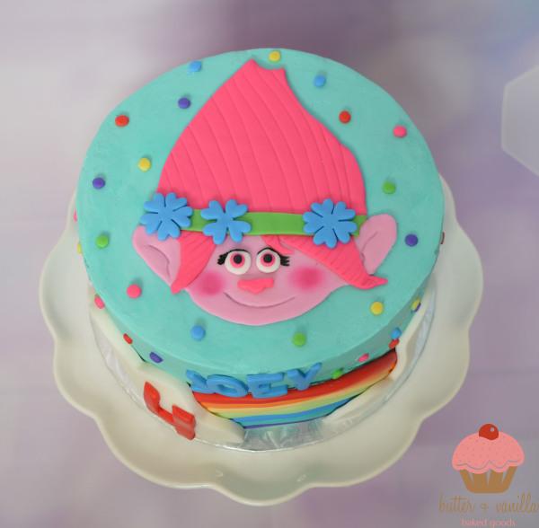 custom cake, butter + vanilla baked goods, calgary custom cakes, birthday cake, trolls cake, poppy cake, yyc custom cakes