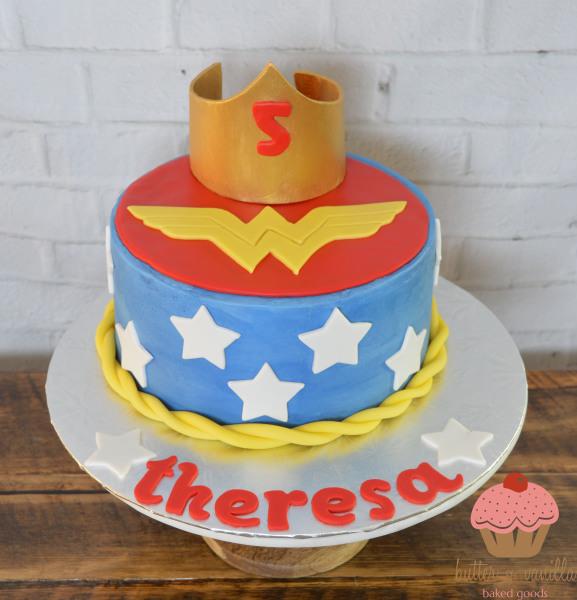 custom cake, butter + vanilla baked goods, calgary custom cakes, birthday cake, wonder woman cake, yyc custom cakes