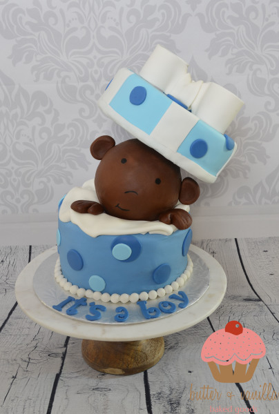 custom cake, butter + vanilla baked goods, calgary custom cakes, baby shower cake, it's a boy cake, yyc custom cakes