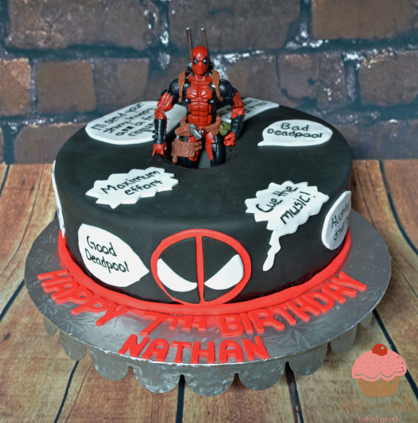 custom cake, butter + vanilla baked goods, calgary custom cakes, birthday cake, deadpool cake, yyc custom cakes