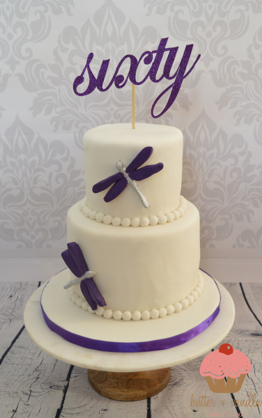 custom cake, butter + vanilla baked goods, calgary custom cakes, birthday cake, two tier cake, 60th birthday cake, dragonfly cake, purple