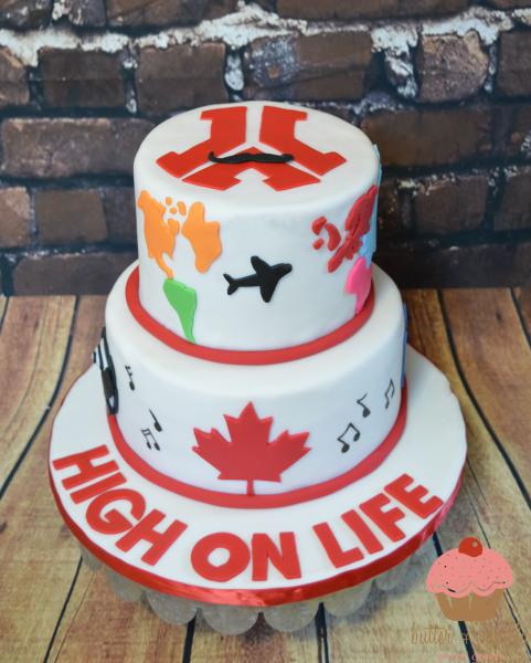 butter + vanilla baked goods, calgary custom cakes, two tier cake,